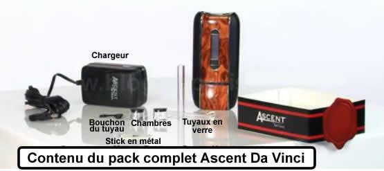 Le détail du contenu complet du pack vaporisateur portable Ascent Da Vinci
