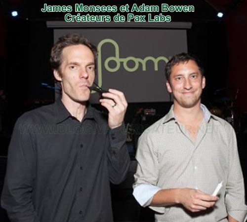 Une photo de James Monsees et Adam Bowen - les concepteurs du vaporisateur portable Pax 2 et créateurs de la compagnie Pax Labs